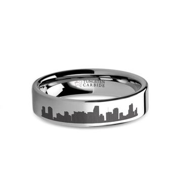 Miami City Skyline Cityscape Laser Engraved Tungsten Ring