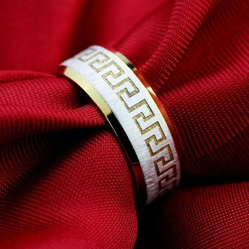 MMS Fashion 316L Stainless Steel Ring for Men And Women The lord Of The Rings Greatwall Gold Finger Ring Width 8mm