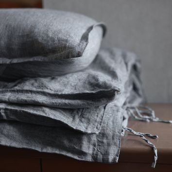 3 Piece Chambray Organic Belgian Flax Linens Duvet Set With Tie Enclosures in 11 Yarn Dyed Colors