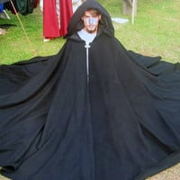 Black Full Circle Wool Cloak Ready to Go Halloween, SCA, LARP, Pagan, Renaissance