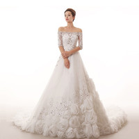 Popular lace beaded new 2015 long tail wedding bride wedding dress palace rose long diamond
