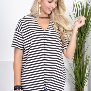 Noelle Striped Cotton Top | Black
