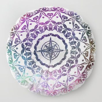 Destination Mandala Floor Pillow by inspiredimages