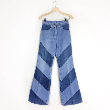 "Bell Bottom Jeans - Vintage 70s Denim - Size 25"" x 29"""