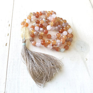 Happiness And Joy Mala Beads, Energy Mala, Creativity Mala, Carnelian Mala Necklace, Aquamarine And Rose Quartz, Citrine Guru Mala