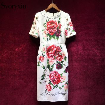 Svoryxiu Elegant Runway Summer Dress Women's luxurious Crystal Button Floral Print Vintage Female Party Slim Midi Dress