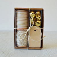 IVORY and GOLD gift wrap kit - holiday packaging kit with twine, ribbon, tags and jingle bells