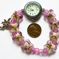 Pink watch, pink butterfly watch, fairy charm watch, fashion watch, round face watch, UK shop