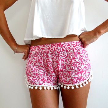 Pom Pom Shorts - Pink and White Swirl Pattern - Gym/Beach Shorts