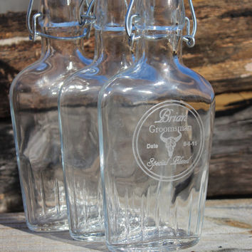 Set of 3 Personalized groomsmen flasks, engraved gifts,  glass flasks,  groomsmen gifts,  best man gift,  bachelor party,  gift for him