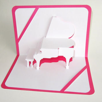 Pop Up 3D GRAND PIANO MOTHERs Day Card Home Décor Handmade Cut by Hand Origamic Architecture in White and Bright Neon Pink Fuchsia