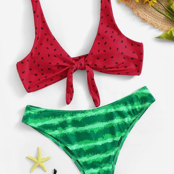 Watermelon Print Knot Front Top With Panty Bikini