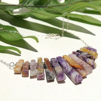 New - semi precious stone stick necklace - sugilite and sterling silver - chevron necklace - bib - statement