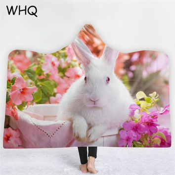 WHQ Hooded Blanket Cat Rabbit Flowers Thick Warm Blanket Winter Wearable Sofa Bedding Throw for Adults Kids Home Cobija Cobertor