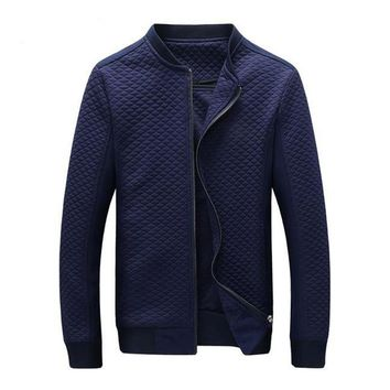 Geometric Quilted Jacket Navy