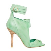 ESSAY – WAXED LEATHER ANKLE WRAP CUT OUT SANDALS by Leon Max | Max Studio