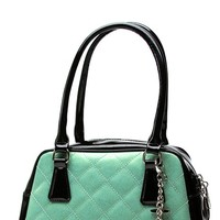 Bon Voyage Tote in Black and Baby Green Sparkle | Blame Betty
