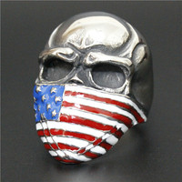 Stainless Steel Skull Head with American Flag Mask Ring