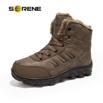 SERENE Mens Winter Warmest Big size 48 Boots Military Tactical Male Work Safety ManLeather Tooling Russian style Men Snow Boots