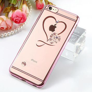 Rose Gold Crystal Hearts Case For iPhone 6 6s 6+ 7 7+