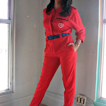 VINTAGE 80s JUMPSUIT - candy red - military uniform flight jumper air force crest - sexy disco revival studio 54 party holiday cocktail xs s