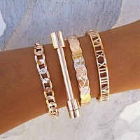 Braided Cuff & Bar Bracelet Set