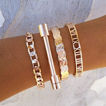Braided Cuff Bar Bracelet Set