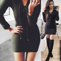 Dress Knitted Winter Autumn Dress Long Sleeve Mini Sexy Party Dresses