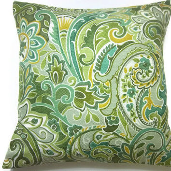 Two Teal Olive Green Gold White Aqua Paisley Pillow Covers Decorative Toss Throw Accent Pillow Covers 16 inch