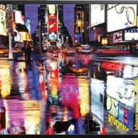 Times Square-New York City-Color, Photography 36x24 Dry Mounted Poster Wood Framed