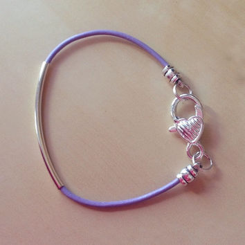 Purple, Lavender or Violet Leather Awareness Tube Bracelet-Friendship-Curved Tube-Epilepsy-Alzheimers-Cancers