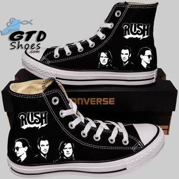 Hand Painted Converse Hi Sneakers. Rush Music Band. Alex, Neil, Geddy.Handpainted shoe
