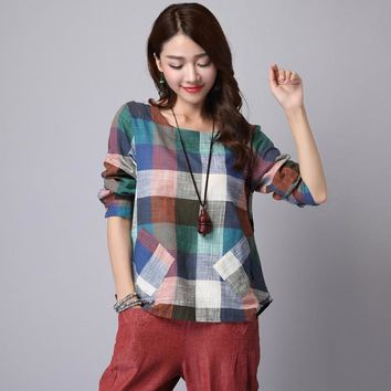 Women's Cotton Linen Shirts Blouses Autumn Spring Females Long Sleeve Loose Plus Size Plaid Shirts Tops New