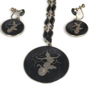 1930s Siam Nielloware Sterling Silver Necklace Earrings Black Enamel Jewelry