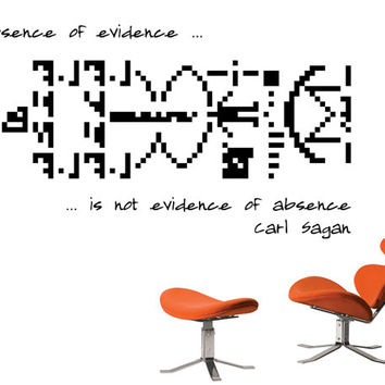 Science art Carl Sagan quote and SETI message vinyl wall decal for your lab classroom school university scientific decor