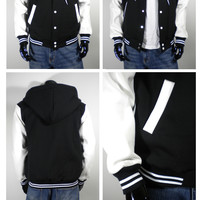 Men's New Letterman Hoodie Baseball Varsity Jacket Black S M L XL 2XL 3XL 4XL