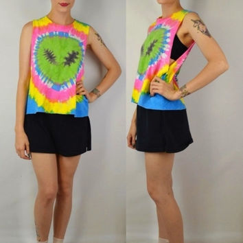 Alien Tie Dye Shirt Tank Head Neon Crop Soft Grunge Neon Cyber Club Kid Womens Handmade Clothing Small Med Large