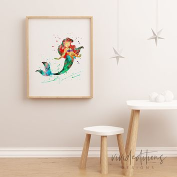 Ariel, Little Mermaid 3 Watercolor Art Print