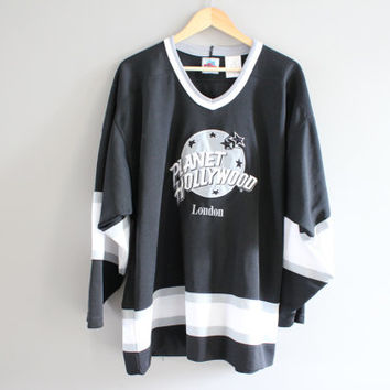 Vintage Planet Hollywood Jersey London 90s Black and White Mono Tone Long Sleeves Slouchy Baggy Oversize Jersey Size L