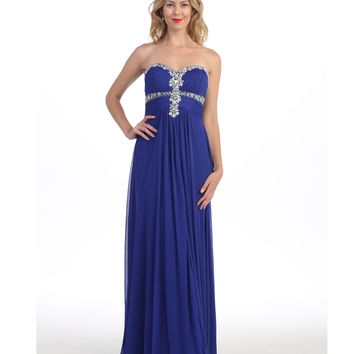 Royal Blue Strapless Grecian Gown  2015 Prom Dresses