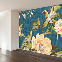 Vintage Fabric Wall Mural Decal