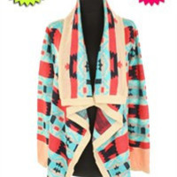 Pink/Turquoise Sweater Cardigan