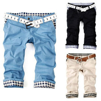Summer Fashion Men Cuffed Shorts
