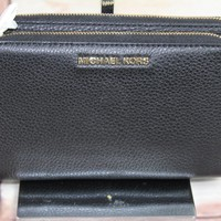 New Michael Kors Adele Double Zip Wristlet Wallet Black Pebbled Leather $168