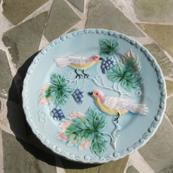 "Zell German Majolica Bird & Vine Plate Vintage Grape Motif 7.5"". 8 Available"