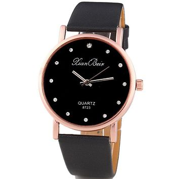 Montres Femmes Diamond Bracelet Watches Women Fashion PU Leather Wristwatch Men's Quartz Watch Woman Clock Relogio Feminino