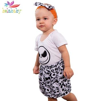 Belababy Baby Girls Clothing Sets 2018 New Halloween Pumpkin King Funny Expression Print Suit+Headband 3PCS Toddler Costume