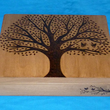 Rustic Wood Wedding Keepsake Box Wood Burned Box Suitcase Card Box Wedding Tree Guest Box Memory Box Personalized Butterfly Love Birds Gift