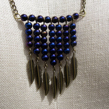 Unique One of a Kind Indigo and Feathers Bohemian Necklace - Boho - Handmade