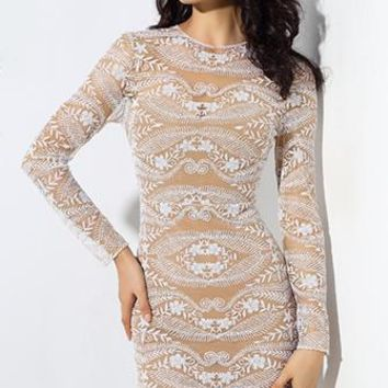 Keep Me Happy Nude White Sheer Mesh Lace Long Sleeve Round Neck Bodycon Midi Dress